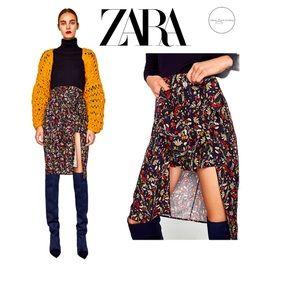 ZARA Floral Overlap Skirt Shorts